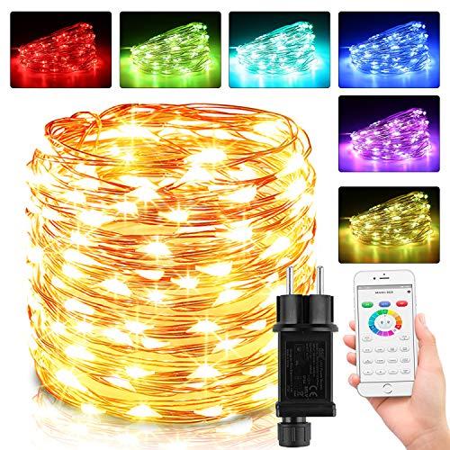 10M 100 LED Bunt Lichterkette Außen, 16 Farben Bluetooth Kupferdraht Lichterkette Innen mit Fernbedienung & 4 Modi, Wasserdichte IP65 Farbwechsel Lichterkette für Zimmer, Weihnachten, Party, Hochzeit