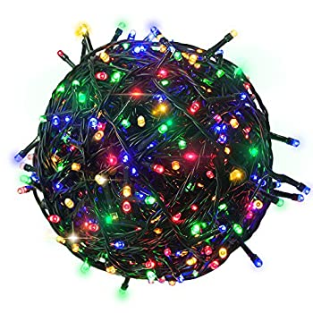 RPGT 500 LEDs 172ft Green Cable Clear Wire Fairy String Tree Twinkle Lights 8 Modes for Christmas Party Outdoor Garden Wedding Home Decoration  Multi Color