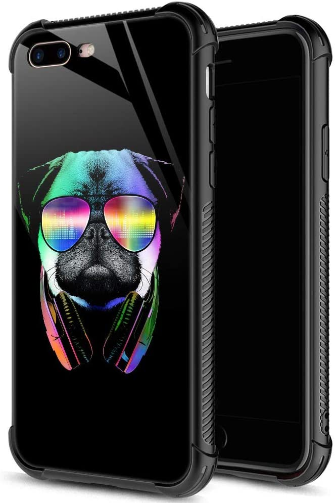 iPhone 8 Plus Case,9H Tempered Glass iPhone 7 Plus Cases Cool Sunglasses Dog for Boys Men,Soft Silicone TPU Bumper Case for iPhone 7/8 Plus inch 5.5 Dog