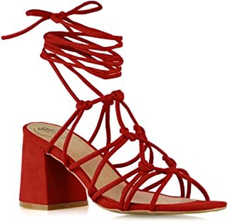 ESSEX GLAM Womens Lace Up Sandals Ladies Low Mid Block Heel Strappy Caged Heels Shoes Size