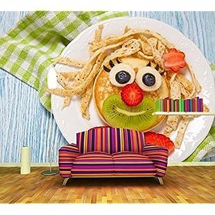 Customer reviews WH-PORP Pancake Strawberry Kiwi Plate Food 3D Wallpaper,Living Room Tv Wall Kitchen Ktv Restaurant-450cmX300cm-450cmX300cm:Eventmanager