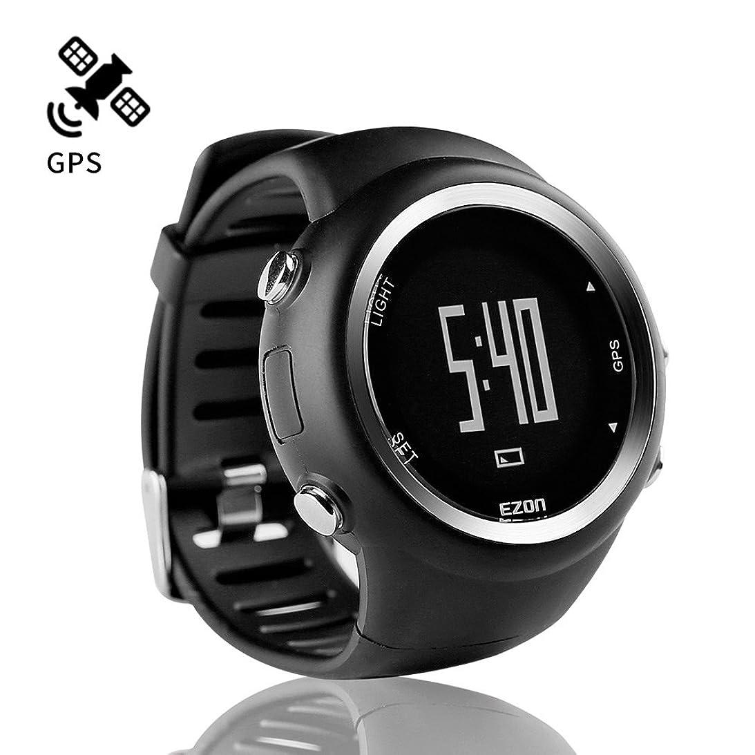 倫理的ゴミ箱切るランニングウォッチ GPS 腕時計 デジタル ウォッチ 防水 軽量 Bluetooth搭載 歩数計 EZONT031B01