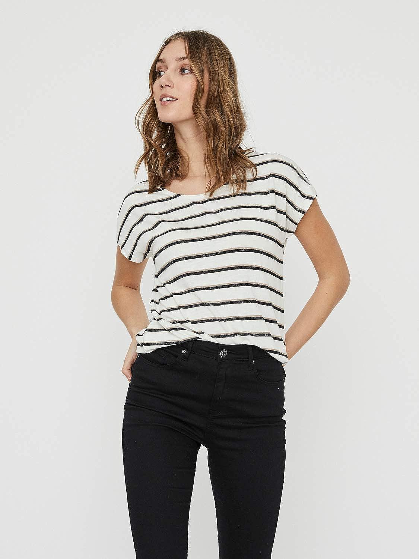 Vero Moda Vmwide S//L Kathy Stripe Top Noos T-Shirt Femme