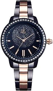 Ladies Glittered Sparkly Rhinestones Quartz Watch with Rose Gold Stainless Steel Strap