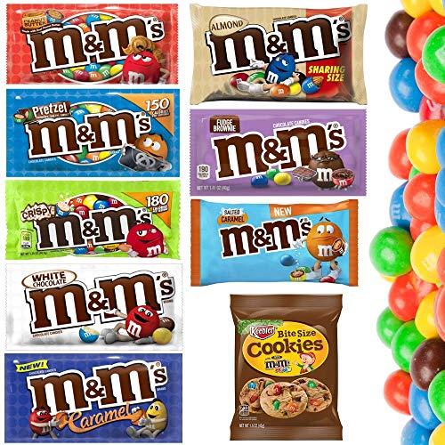 M & Ms aus den USA - Erdnussbutter, Fudge Brownie, Karamell, weiße Schokolade, Mandel, Brezel, Gesalzenes Karamell, Knusprig + Cookies