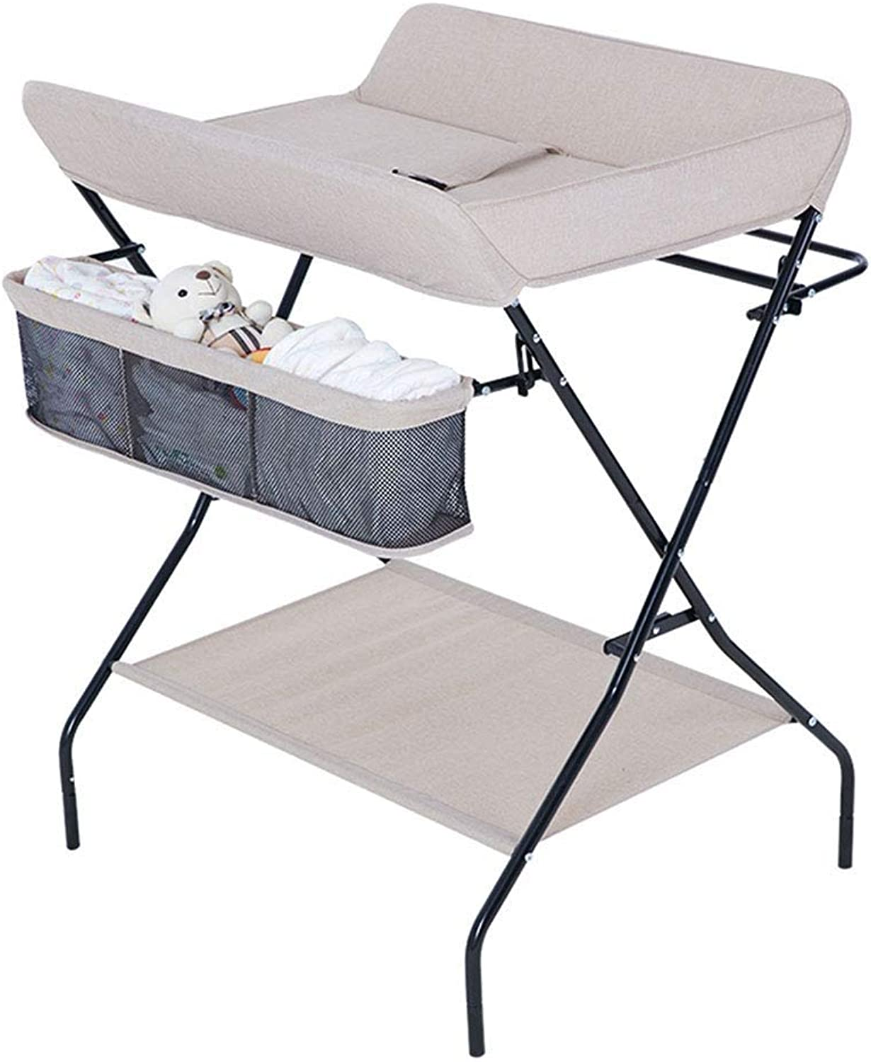 Portable Diaper Station Foldable Baby Changing Table Change Strap Storage Space Baby Dressing Table Massage Station Cross Leg Style