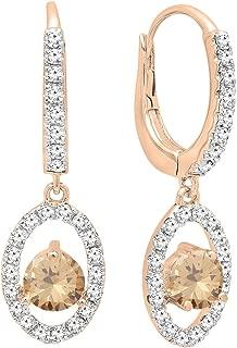14K 4.5 MM Each Round Gemstone & White Diamond Ladies Dangling Drop Earrings, Rose Gold