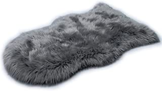 HLZHOU Faux Fur Soft Fluffy Single Sheepskin Style Rug Chair Cover Seat Pad Shaggy Area Rugs for Bedroom Sofa Floor (2x3 Feet (60 * 90cm), Gray)