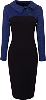 Women's Retro Chic Colorblock Lapel Career Tunic Dress B238