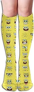 Calcetines hasta la rodilla Bob Esponja Calcetines lindos de compresión para niña mujer