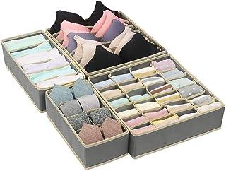 Qisiewell Boîte de rangement à 6tiroirs, pliable, pour sous-vêtements, chaussettes, cravates, lingerie et petits accessoires