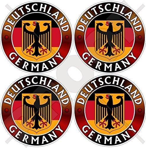 DEUTSCHLAND Flagge-Wappen Deutscher Adler, Deutsch 50mm Auto & Motorrad Aufkleber, x4 Vinyl Sticker