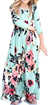 Girls Dresses Floral Maxi Flower Boho Hawaiian Party Dress for Girls with Pocket
