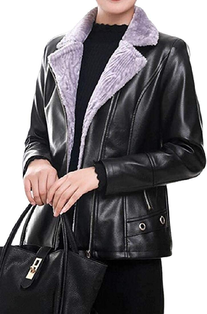 Yhsuk Women Fleece Lined Thicken Motorcycle Biker Faux Leather Jacket Coat