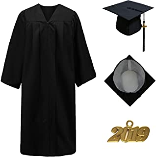 GraduationStudio Matte Unisex Graduation Gown Cap with Tassel 2019, for High School and Bachelor Students, Black