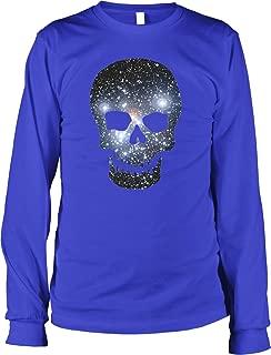 Hoodteez Galaxy Pattern Skull, Space Skull Men's Long Sleeve Shirt