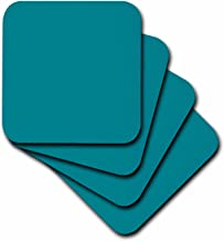 3dRose cst_159850_2 Plain Teal Blue Simple Modern Contemporary Solid One Single Color Turquoise Blue-Green Soft Coasters, (Set of 8)