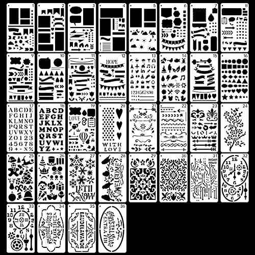 36 Stück Bullet Journal Schablonen zum Basteln wiederverwendbar, Sculpting Buchstaben, Alphabet Schablonen für Scrapbooking Supplies Scrapbook Zubeh