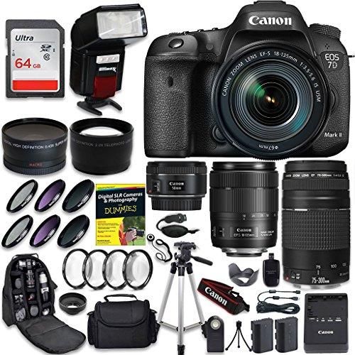 Canon EOS 7D Mark II SLR Camera FIVE Lens PRO BUNDLE + Canon EF-S 18-135mm f3.5-5.6 + Canon EF 75-300mm f4-5.6 III + Canon 50mm f/1.4 + .43 Wide Angle & 2.2 Telephoto Lens + 64GB Card + CW Cloth