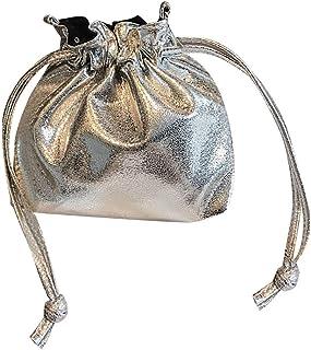 Wultia - New Hot Fashion Bucket Drawstring Pocket Wild Diagonal Shoulder Bag Shiny Patent Leather Bundle Pocket Messenger Bags #M Silve