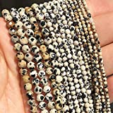 Cara de Tourmalina Natural Redondo Cuentas de piedra sueltas Espaciador de cuentas para la fabricación de joyas Pulsera de accesorios de bricolaje-Jaspe manchado_2mm (aproximadamente 170 unids)