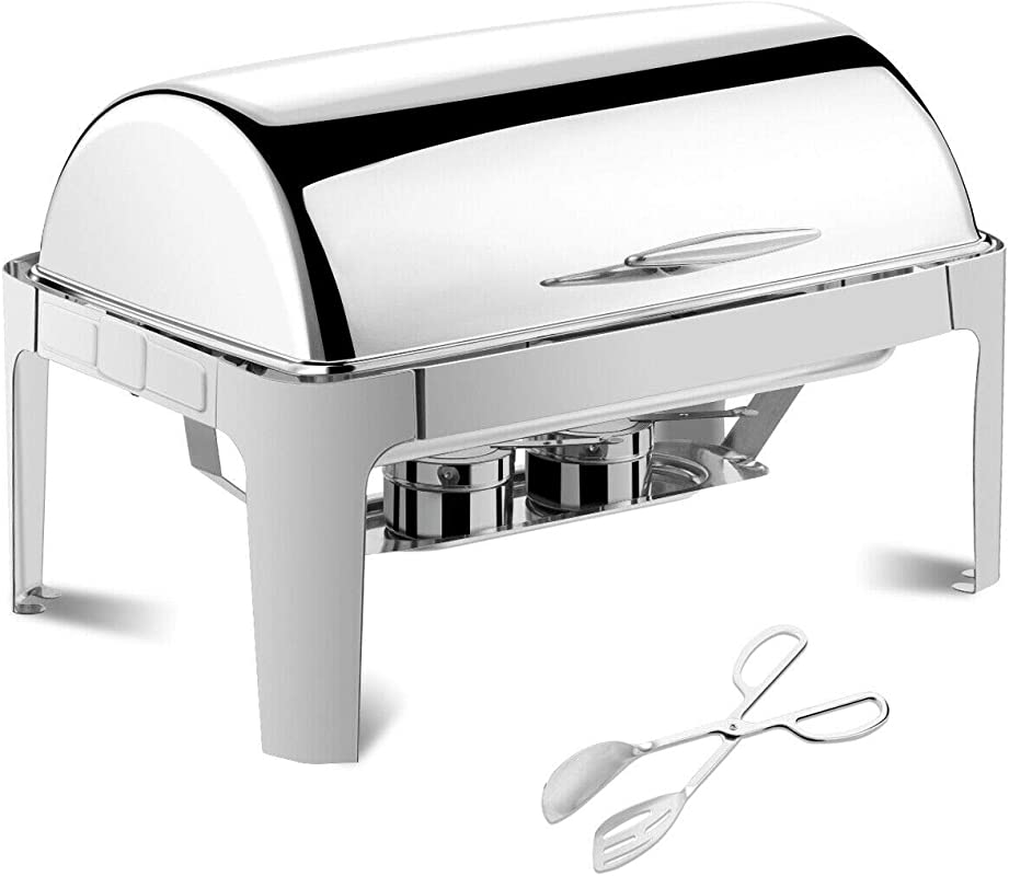 9Quart Rectangular Chafing Dish Stainless Steel Roll Top Chafer Buffet Catering Wedding Serving Tong With Ebook