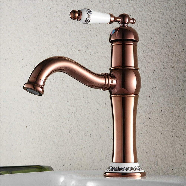 Wasserhahn Küche Waschbecken Badezimmer Europische antike rote Bronze mit keramischem Hahn