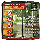 TheFitLife Magnetic Screen Door - Heavy Duty Mesh Curtain with Full Frame Hook and Loop Powerful Magnets that Snap Shut Automatically - Black 48'x83' Fits Door Size up to 46'x82' Max