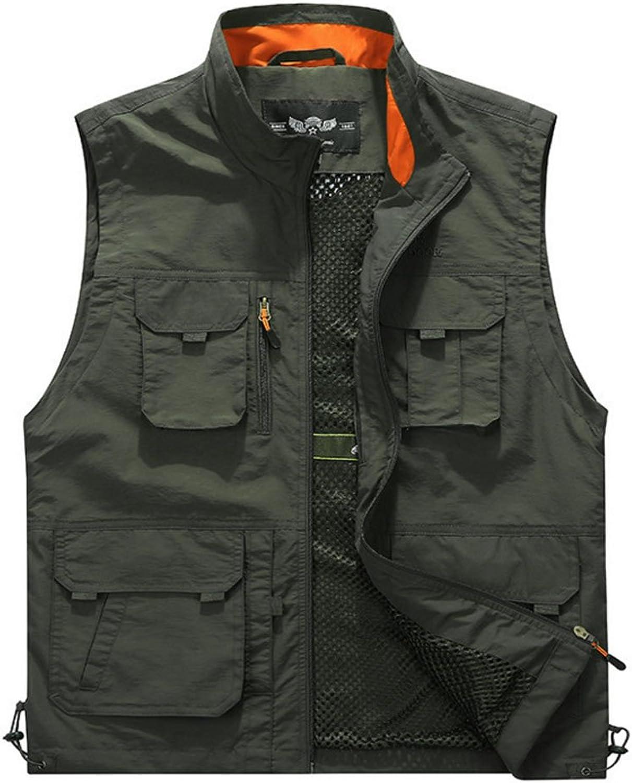 HHRONG Outdoor-Multi-Pocket-Angeln Reiten Fotografie Weste rmelloses Mesh Quick-Dry Weste Jacke (3 Farben)
