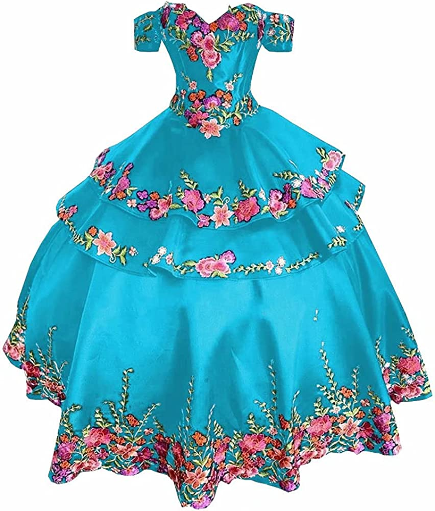 2021 Sexy Detachable Puffy Skirt 3D Floral Flowers Quinceanera Dresses Mexican Theme Off The Shoulder Ball Gown