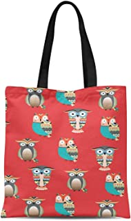S4Sassy Orange Owl Tribal Print Canvas Shopping Tote Bag Carrying Handbag Casual Shoulder Bag 16x12 Inches