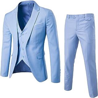 0d6224b1ca2 ZhuiKun Traje de 3 Piezas para Hombre con Chaqueta, Chaleco y Pantalones