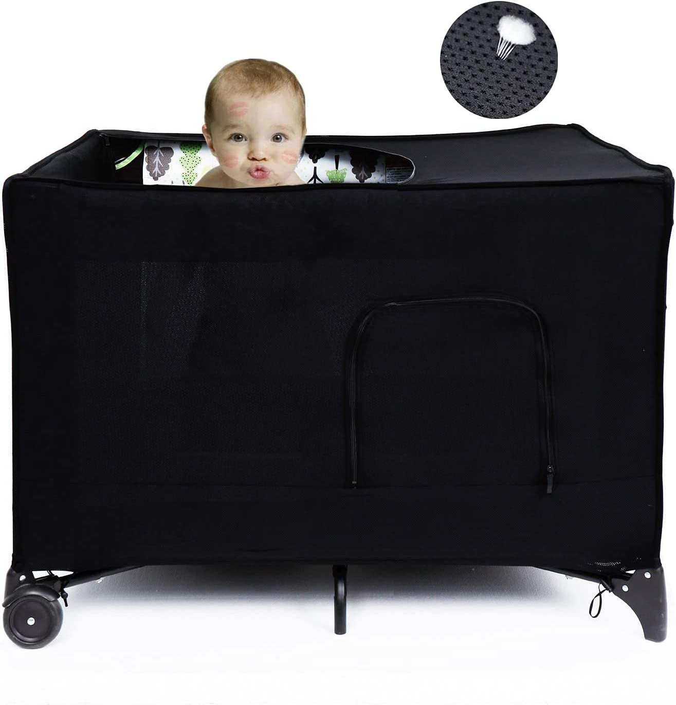 Travel Crib Blackout Cover, Portable Crib Darkening Canopy Cover for Pack and Play, Stretchy Breathable Crib Tent for Indoor or Outdoor Playard.