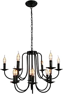 Unitary Brand Antique Black Metal Wrought Iron Dining Room Candle Chandelier with 12 E12 Bulb Sockets 480W Painted Finish