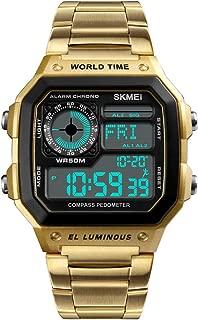 Men's Luxury Digital Waterproof Wrist Watches Multi-Function Pedometer Calories Compass World Time Countdown Stopwatch Sports Watch