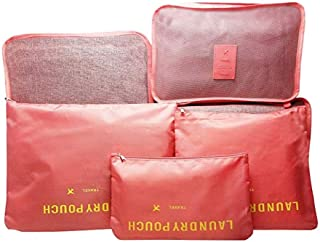6 Pcs Travel Luggage Packing Organizers Set with Laundry Bag Shoe Bag Pink