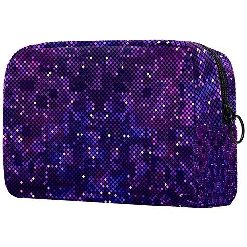 KAMEARI Bolsa de cosméticos Pixelated fondo púrpura del espacio exterior grande cosmético organizador bolsas de viaje multifuncional