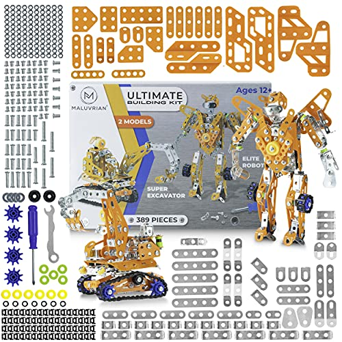 MALUVRIAN Erector Set for Boys - Girls | Metal Model Kits for Adults Teens and Advanced Kids Stem Toys | Build A Robot or an Excavator | Educational Toys | Engineering Toys | Building Kit | 389 pcs