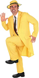 Mens Adventurer Action Film Costume Mask Yellow Suit Outfits