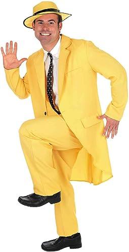 Fun Shack FN2783L Herren Kostüm 90er Jahre Gelb Maske Anzug Größe L