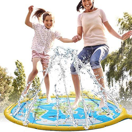 TOT 69-Zoll-Planschbecken für Kinder im Freien mit aufblasbarem Spritzschutzkissen mit sicherem PVC-Material für das Spielen im Gartenbrunnen, 1-12 Jahre alte Jungen, Mädchen