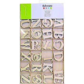 Artemio 6cm Holz Alphabet Großbuchstaben, beige