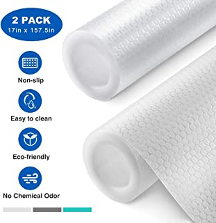 Homemaxs Shelf Liner, Non-Adhesive Drawer Liner, Versatile Kitchen Cabinet Liners, 17 Inch x 13.2FT, Non-Slip Liners for Drawers, Shelves, Cabinets, Refrigerator and Desks, Transparent, 2 Rolls