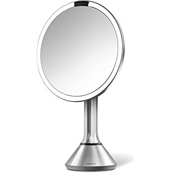 """simplehuman Sensor Lighted Makeup Vanity Mirror 8"""" Round, 5X Magnification, Stainless Steel, Rechargeable and Cordless"""