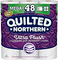 Quilted Northern Ultra Plush Toilet Paper, 12 Mega Rolls = 48 Regular Rolls, 3-Ply Bath Tissue