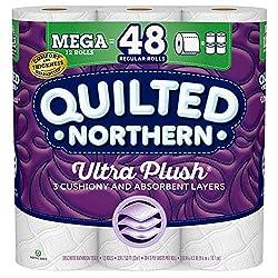 Quilted Northern Ultra Plush Toilet Paper, 12 Mega Rolls, 12 = 48 Regular Rolls, 3 Ply Bath Tissue