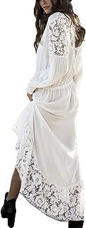 YouKD Women's Lace Cotton Dress Hollow Floral Robe Boho Loose Kimono Beach Bikini Cover Up Dresses