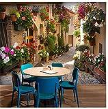 Vlies Bunte Blumen In Der Gasse 3D Fototapete Wandverkleidung Esszimmer Wohnzimmer Wohnkultur