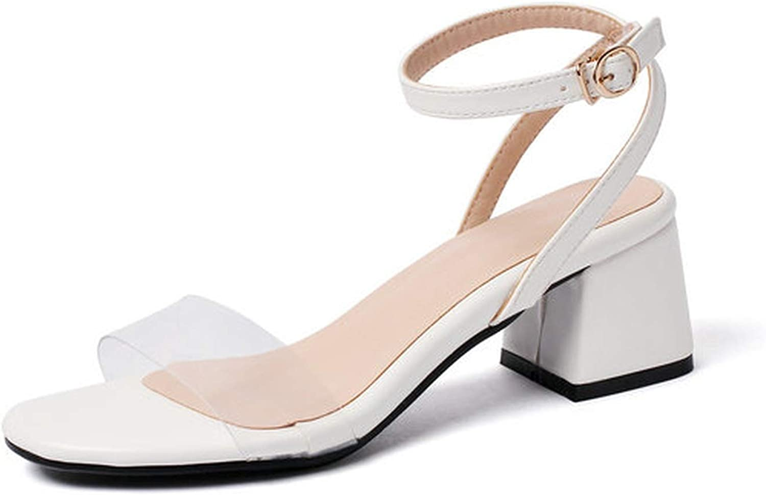 Women Sandals Pu Leather Transparent Round Open-Toed Buckle Square High Heel Slingback Anti-Skid
