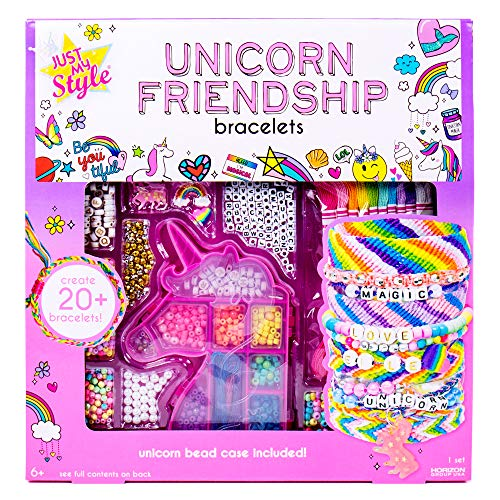 Just My Style Unicorn Friendship Bracelets by Horizon Group USA Create 20+ Bracelets, Kit Includes 1300+ Beads ABC Beads, Metallic Beads Unicorn Storage Case & More